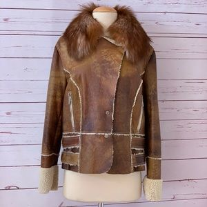 APROPOS Shearling fur vegan jacket M LIKE NEW!
